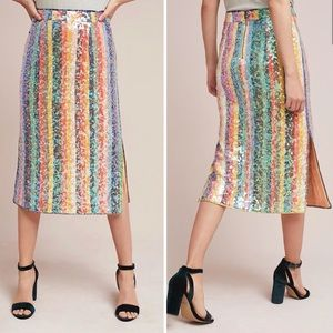 💗Anthropologie Sequined Palette Midi Skirt💗